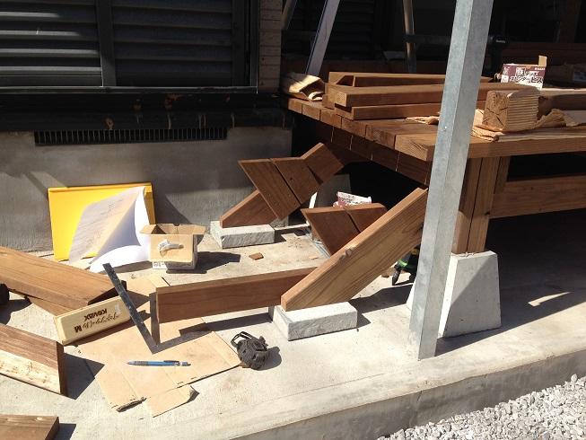 階段を造っているところ
