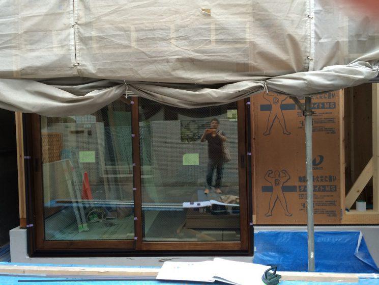 木製サッシリビング掃出し窓設置